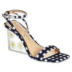 """As Is"" Jessica Simpson Aysie Gingham-Print Acrylic Wedge Dress Sandal"