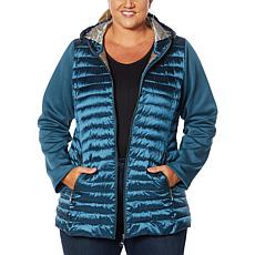 """As Is"" Laurier Hooded Puffer Jacket with Soft Shell Sleeves"