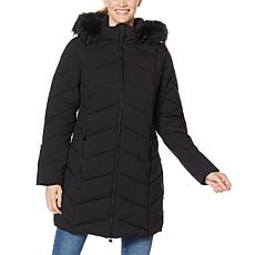 """As Is"" Laurier Stretch Quilted Coat with Removable Faux Fur Trim Hood"