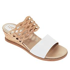 """As Is"" Lucca Lane Wanette Leather and Cork Wedge Sandal"