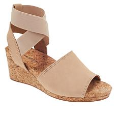 """As Is"" Lucky Brand Kyla Leather Ankle Wrap Wedge Sandal"