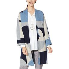 """As Is"" MarlaWynne Geometric Colorblocked Jacquard Topper"