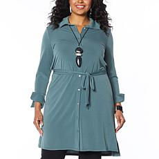 """""""As Is"""" MarlaWynne Luxe Crepe Shirt Dress with Belt"""