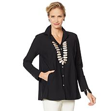 """""""As Is"""" MarlaWynne Luxe StretchTech Shirt with Pockets and Pleats"""