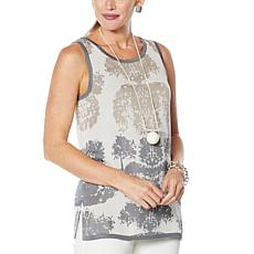 """""""As Is"""" MarlaWynne Matte and Shine Jacquard Tank"""