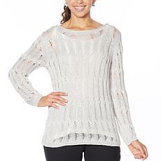 """As Is"" MarlaWynne Open Weave Ladder Stitch Popover Sweater"
