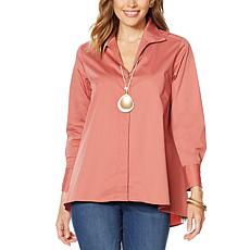 """""""As Is"""" MarlaWynne Poplin Shirt with Button Detail"""