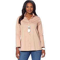 """As Is"" MarlaWynne Poplin Shirt with Side Slits"