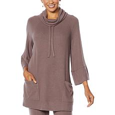 """As Is"" ModernSoul® Brushed Soft Soft Touch Hacci Cowl-Neck Poncho"
