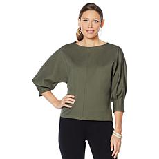 """""""As Is"""" Motto Ponte Knit Structured Popover Top"""