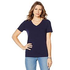 """""""As Is"""" Motto Sunkissed Knit V-Neck Tee"""