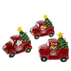 """As Is"" Mr. Christmas 3-pack Battery-Operated Mini Nostalgic Trucks..."