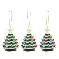 """As Is"" Mr. Christmas Set of 3 Mini Snow-Tipped Nostalgic Trees wit..."