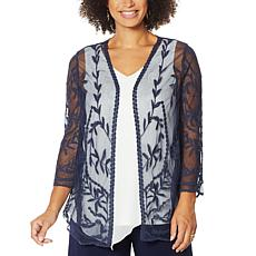 """As Is"" Nina Leonard 3/4-Sleeve Embroidery Mesh Topper"