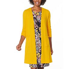"""""""As Is"""" Nina Leonard Dolce Knit Duster Cardigan with Pockets"""