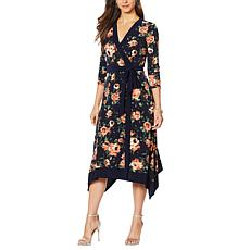 """As Is"" Nina Leonard Printed Miracle Matte Jersey Faux Wrap Dress"