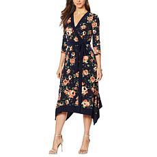 """As Is"" Nina Leonard Printed Miracle Matte Jersey Faux Wrap Dress"