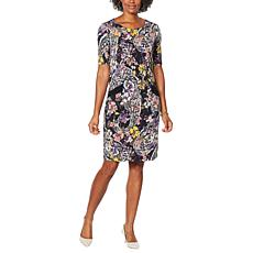 """As Is"" Nina Leonard Printed Sheath Dress with Pockets"
