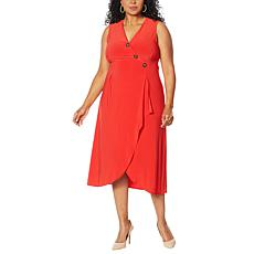 """As Is"" Nina Leonard Sleeveless Wrap Dress with Button Detail"