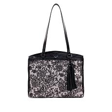 """""""As Is"""" Patricia Nash Poppy Leather Chantilly Lace Top-Zip Tote"""
