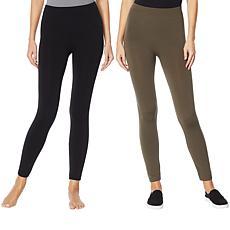 """As Is"" Rhonda Shear 2-pack Fleece-Lined Legging"