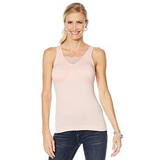 """As Is"" Rhonda Shear 2-pack Lace Inset Seamless Tank with Removable..."