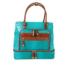 """As Is"" Samantha Brown Croco-Embossed Insulated Drop Bottom Tote"