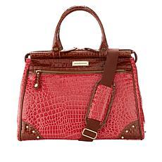 """As Is"" Samantha Brown Nylon and Croco-Embossed Dowel Bag"