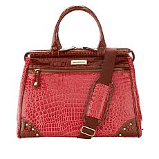 """As Is"" Samantha Brown Nylon and Croco-Embossed Dowel Bag"
