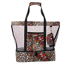 """""""As Is"""" Samantha Brown To-Go Insulated Bottom Mesh Tote"""