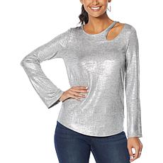 """""""As Is"""" Skinnygirl Foiled Jersey Cutout Top"""