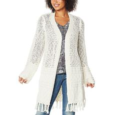 """As Is"" Skinnygirl Mayflower Open Weave Duster Cardigan"