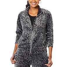 """""""As Is"""" Skinnygirl Printed Velour Zip-Front Jacket"""