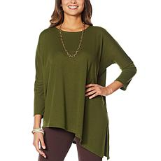 """""""As Is"""" Slinky® Brand Asymmetric Hacci Knit Tunic with Dropped Shou..."""