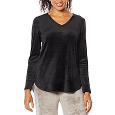 """""""As Is"""" Soft & Cozy Long-Sleeve Velour Hi-Low Top"""