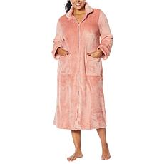 """As Is"" Soft & Cozy Loungewear Plush Zip-Front Long Robe"