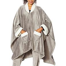 """""""As Is"""" Soft & Cozy Sherpa-Trimmed Angel Wrap"""