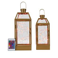 """""""As Is"""" South Street Loft Set of 2 Lanterns with Fairy Lights"""