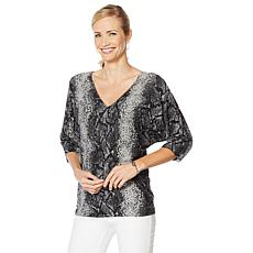 """As Is"" Vanessa Williams Safari Double V-Neck Lace Detail Sweater"