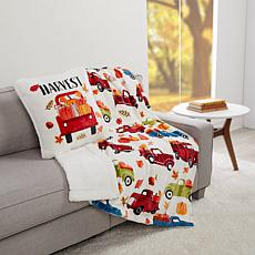 """""""As Is"""" Warm & Cozy Harvest Plush to Sherpa Throw and Pillow Set"""