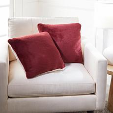 """As Is"" Warm & Cozy Set of 2 Faux Fur Decorative Pillows"