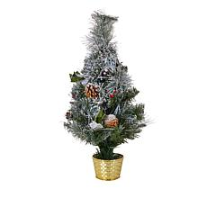 """As Is"" Winter Lane 24"" Flocked Fiber Optic Tree with Lights"