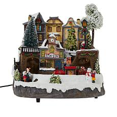 """""""As Is"""" Winter Lane Musical Lighted Village with Moving Train"""