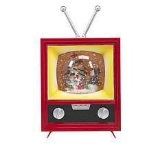 """As Is"" Winter Lane Musical Spinning Glitter Antique TV - Snowman"