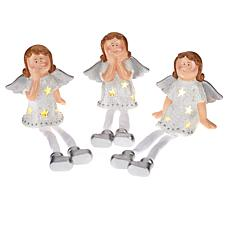 """As Is"" Winter Lane Set of 3 Illuminated Dangle Sitters"