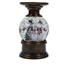 """""""As Is"""" Winter Lane Snowman Water Globe Candle Holder with Timer"""