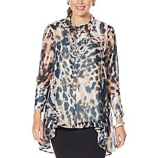"""As Is"" WynneLayers Animal-Print Hi-Low Hem Shirt"