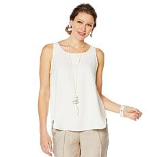 """As Is"" WynneLayers Crepe Georgette Shirttail Tank"