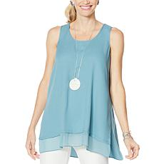 """As Is"" WynneLayers Crepe Tank with Chiffon Hem"