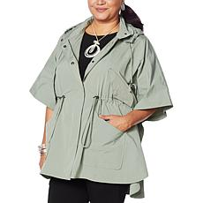 """As Is"" WynneLayers Hooded Poncho Jacket"